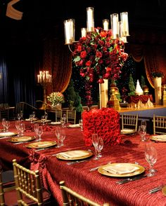 Beauty and the Beast inspired wedding reception. #red #Disney #princess