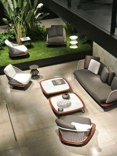 Minotti @ Salone Milan 2015 Ikea Outdoor, Outdoor Seating, Outdoor Sofa, Outdoor Spaces, Outdoor Living, Outdoor Decor, Patio Furniture Sets, Furniture Styles, Garden Furniture