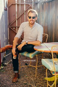 April 9, 2014. Shirt: Rhodes Collar Oxford - Bonobos Jeans: American Eagle - $29Boots: Dune - Topman - $120 (similar)Sunglasses: Ray Ban Clu...