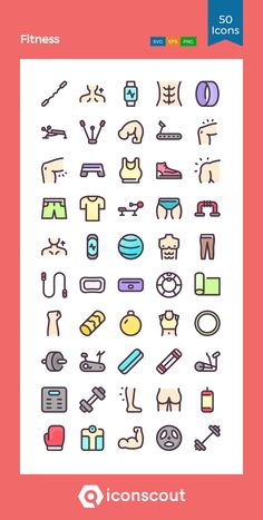 Fitness  Icon Pack - 50 Colored Outline Icons Fitness Icon, Png Icons, Icon Pack, Icon Font, Outline, Highlights, Fonts, Packing, Gym
