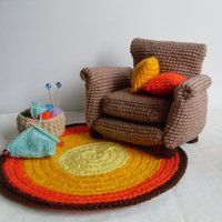 Crocheted mini furniture for doll house