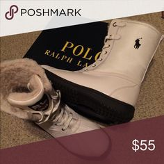 """Polo Ralph Lauren """"Toranto"""" Boot -Off White (NWB) Brand new in box off white/cream colored mid-calf winter boots. Black soles , Polo pony on outer calf and patch on tongue.  These are a Boys size 7Y but run on the large side. I am a women's size 9 and these feel a little too roomy on me, so I never ended up wearing them.   """"Synthetic upper in cream Padding around collar Lace-up design Faux fur lining Lightly padded mid sole for comfort Man-made outsole"""" Polo by Ralph Lauren Shoes Winter…"""