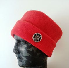 Women's red hat, fleece hat, red and black women clothes