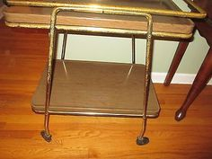 Vintage-MCM-Cosco-Utility-2-Tier-Bar-Cart-Atomic-Expand-or-Remove-Trays-NICE