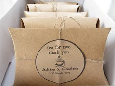 Tea for Two Rustic Wedding Favors Set of 20 with tea samples