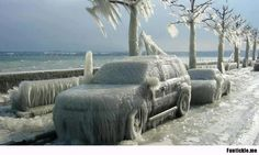 This is what happens if you park your car next to Lake Geneva in the winter.