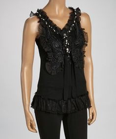Another great find on #zulily! Black Ruffle Silk-Blend Sleeveless Top by Pretty Angel #zulilyfinds