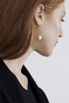 Permanent Collection — BLUNK DOUBLE HOOP EARRINGS – Gold & bone