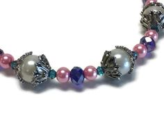 Pink Teal & Blue Pearl and Crystal Thyroid Cancer Awareness Bracelet w/ Silver Tone Clasp and Bead Caps, Faux and Glass Pearls and Crystals - pinned by pin4etsy.com
