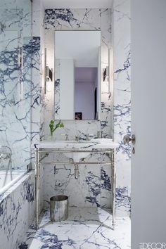 Gray Marble  Bathroom- ELLEDecor.com