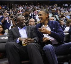 Obama and a former staffer watching Olympics bound US men's national basketball team against Brazil.