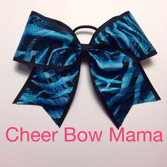 Turquoise and Black Zebra Cheer Bow by Cheer Bow Mama