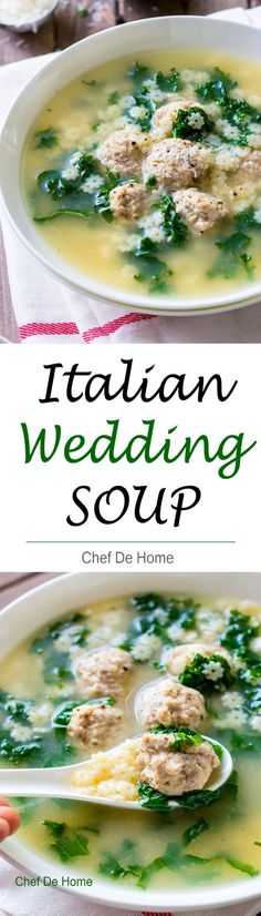 The best ever one Pot Italian Wedding Soup with pasta and delicious chicken meatballs!!