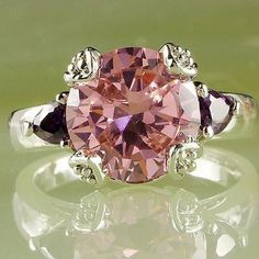 Beautiful Pink AAA Round  Cut Sapphire CZ & Sterling Silver Ring Size 7 #SolitairewithAccents