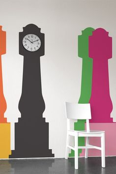 Grandfather Clock by Blik wall decals comes with an extra base in a complimentary color so you can express yourself with a playful two color combination or a stylish monochromatic look. Save the unused base in case you decide you want to mix it up. Wall Stickers, Wall Decals, Wall Art, Clock Wall, Wall Vinyl, Wall Décor, Clock Orange, Modern Grandfather Clock, Peler Beads