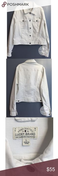 Lucky Brand Women's White Denim Jacket sizeL Lucky Brand Women's White lightly distressed denim jacket size large , new without tags ! Beautiful with a good pair of dark jeans and brown boots ! Perfect for the fall! Lucky Brand Jackets & Coats Jean Jackets