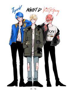 Bts Anime, Anime Guys, Kpop Fanart, Fan Art, Fille Gangsta, Yoonmin Fanart, Bts Memes Hilarious, Kpop Drawings, Fanarts Anime