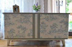 Retro Kommode Wallpaper Paste, Hand Painted Furniture, Cabinet, Storage, Diy, Home Decor, Retro Dresser, Hanging Wallpaper, Projects