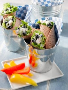 Want to add something healthy to your fall football tailgate? Try these blueberry chicken salad wraps. Yum.
