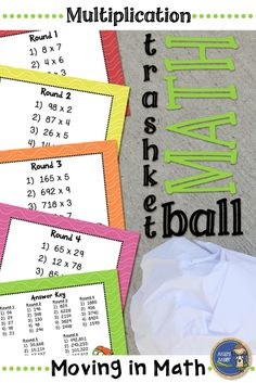 Multiplication Trashketball - Get your students moving in math class. Students practice dividing decimals and shoot baskets at the end of each round. Students will beg to play and even principals have enjoyed a round or two. Click to check out all of my trashketball games! $ gr 3-6