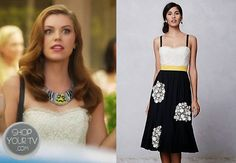 Annabeth Nass (Kaitlyn Black) wears this black, white, and yellow cotton and lace dress with removable straps in this week's episode of Hart...