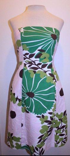 J Crew Dress 4 Pink Green Floral A Line Retro Mod Strapless Dress #JCrew #ALine #CasualCareerDate