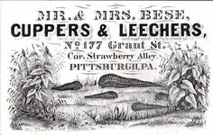 Business card for cuppers & leechers in Pittsburgh, Pennsylvania. 19th century.