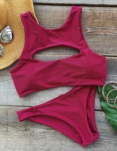 Let's get wild, not only the bikini. Make a splash with the swimwear you'll be proud to be seen in poolside with the solid color cutout tank bikini! Hit more amazing ones at Cupshe.com !