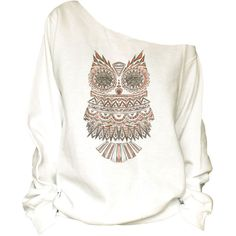 Vintage-Owls Print Off Shoulder Slouchy Oversized Raw Edge... ($32) ❤ liked on Polyvore featuring tops, hoodies, sweatshirts, white, women's clothing, sweat shirts, white off shoulder top, off the shoulder sweat shirt, off the shoulder sweatshirt and sweatshirts hoodies