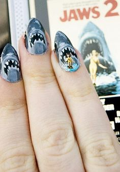 SHARK WEEK!!! A girls gotta be festive for ALL occasions! #nails #sharkweek