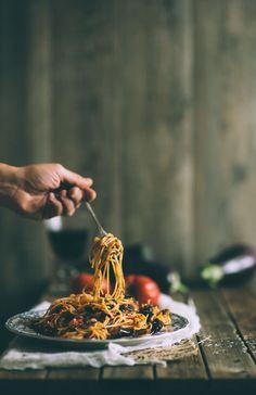 Pasta alla Norma.  A classic Sicilian pasta dish made with eggplants.