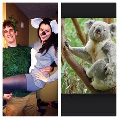 My friend and her boyfriend dressed up as a Koala and the Tree. BEST HALLOWEEN  sc 1 st  Pinterest & Homemade Masks for Costume Parties | Pinterest | Animal costumes diy ...