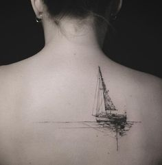 Boat back tattoo - 100 Boat Tattoo Designs  <3 <3