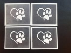 Paw in heart stencils for etching on glass  dog animal Crufts hobby commerative by Dazzleglittertattoo on Etsy