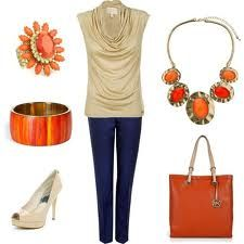 Love the vibrant orange accents in this outfit.