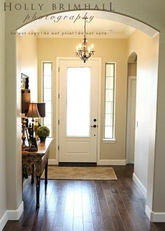 Love this!!Paint Color- Dunn Edwards brand cochise trim- Swiss coffee wood floors Reward Granada collection birch baroque REW 125 GB purchased locally through red mountain interiors