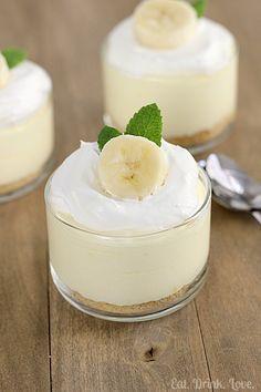 No-Bake Banana Cream Cheesecakes