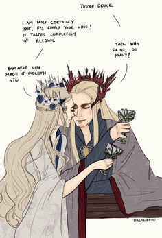 The funniest thing and cutest thing ever thranduil and vos wife Lotr, Mirkwood Elves, Legolas And Thranduil, O Hobbit, Fanart, Jrr Tolkien, The Elf, Anime, Middle Earth