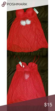 Red baby doll nightie Size small fits 34b. New with tag never been worn. Cute for valentines or Christmas even though it passed or just regular daily sleepwear. The only down fall is that the white feathers sheds which idk why. But other than that in excellent condition.  Orginal price : $21.99  Please make an offer thanks. Intimates & Sleepwear Pajamas