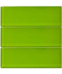 Lush 4x12 Lemongrass - Green Glass Subway Tile