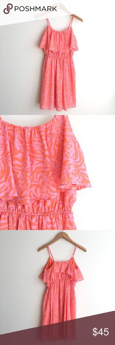 "Lilly Pulitzer for Target Satin Flounce Dress Pink and orange ""Jungle Orange"" Print. Adjustable straps. Waist. Lined. Excellent condition. Lilly Pulitzer for Target Dresses"