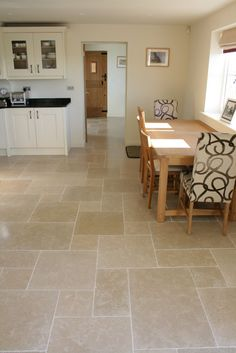 Dijon-Tumbled-Limestone-Floor-Tiles-Large-Pattern---Mrs-Bucknall Dijon Tumbled limestone tiles - beautiful minerals and fossils in our Dijon limestone wall & floor tiles. Order your free sample of Dijon tumbled limestone. Ceramic Floor Tiles, Bathroom Floor Tiles, Large Floor Tiles, Marble Floor, Kitchen Tiles, Porcelain Tile, Kitchen Vinyl, Concrete Kitchen, Kitchen Cabinetry