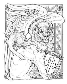 BoY Winged Lion Line Art by synnabar.deviantart.com on @deviantART