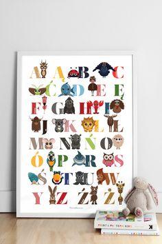 Kolorowy plakat ABECADŁO ze zwierzątkami  50x70cm w pomyslownia na DaWanda.com