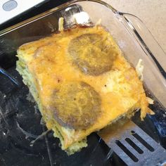 Easy hash brown, sausage and egg casserole ... make it the night before and throw it in the over the morning of.  Frozen hash browns on bottom, then frozen (fully-cooked) sausage, pour mixed eggs (4) with 1/2 cup milk, a little onion powder, a dash of garlic powder plus some salt and pepper, then top with shredded cheddar cheese. Bake covered @ 350 about 30 mins and then uncovered an additional 10.