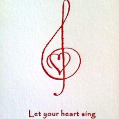 Let your heart sing treble clef music art Singing Quotes, Music Quotes, Music Sayings, Musica Country, Note Tattoo, Singing In The Rain, Music Love, Music Lyrics, Music Music