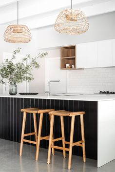 Home Decor 2019 Cray pot pendants, black panelling and cube shelving are complimented with simple white cabinetry and mat tiles. Interior Design by Jo Carmichael/ Texture Tone Design. Photography by Dion Robeson Home Decor Kitchen, New Kitchen, Home Kitchens, Coastal Kitchens, Kitchen Decorations, Decorating Kitchen, Kitchen Ideas, Home Design, Küchen Design