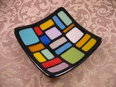 Multicolor Fused Glass Plate.