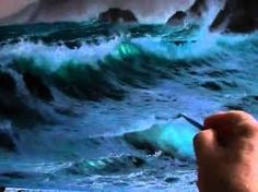 painting ocean waves on rocks night - Google Search