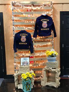 Decorations for FFA Banquet- displaying administrators' FFA jackets!